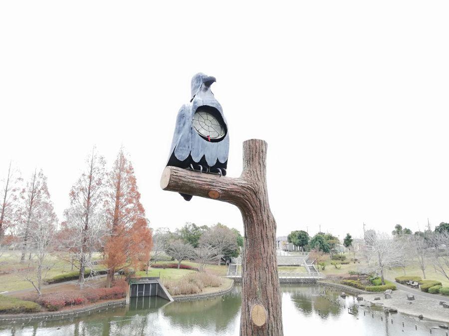 七井戸公園の鳥のオブジェ