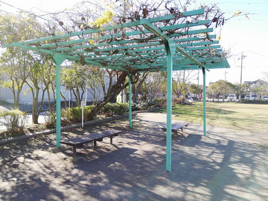 織戸公園の棚のあるベンチ
