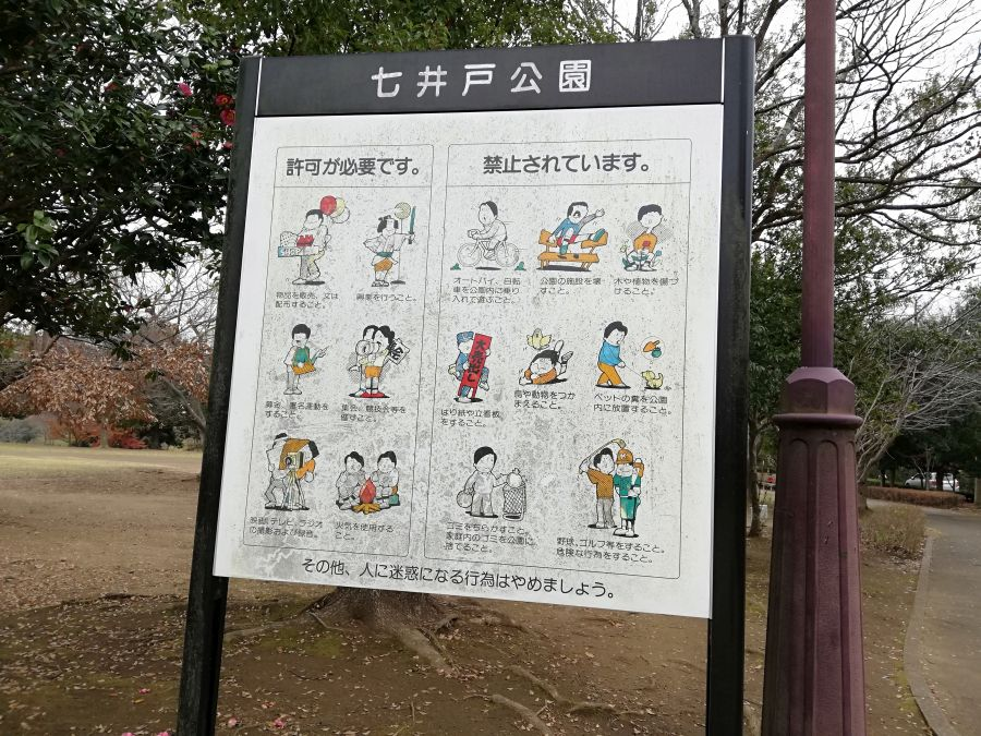 七井戸公園を利用時の注意