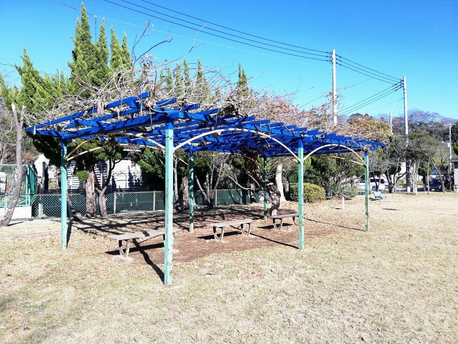 麦田児童公園の棚のあるベンチ