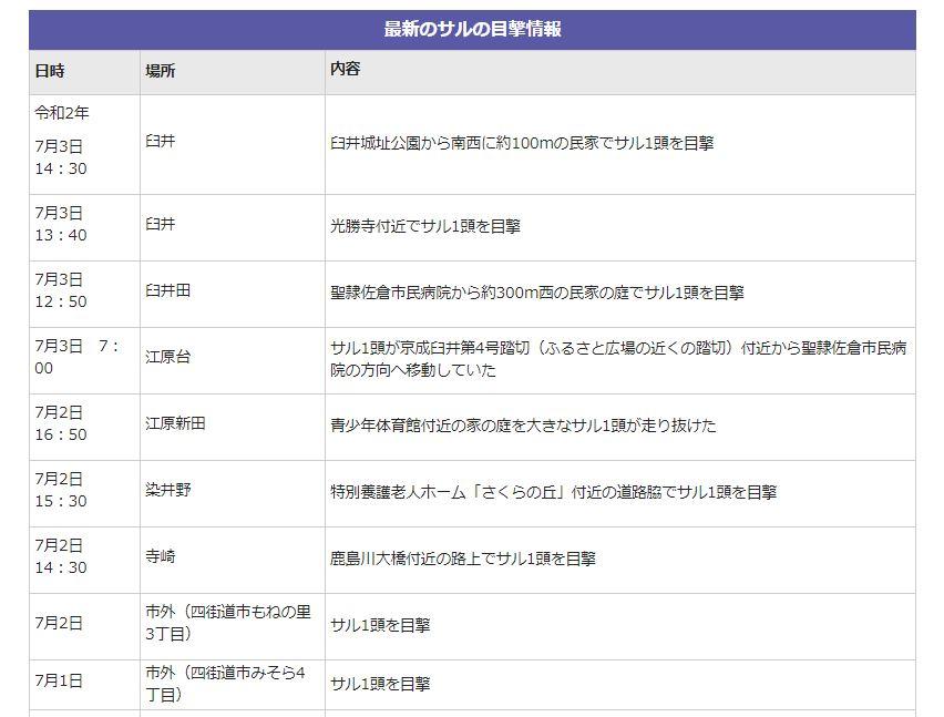 2020年7月5日 佐倉市 野生のサル 目撃情報